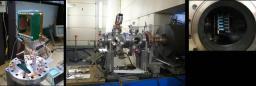 De gauche à droite, photo du prototype du profileur, puis le proto dans l'accélérateur IPHI comme indiqué par la flèche et enfin une photo de côté où l'on voit les résistances du proto vue par la tranche...
