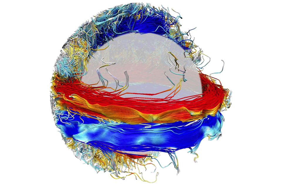 Wreaths of strong magnetic field in a global-scale 3D cycling dynamo simulation.
