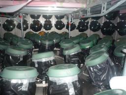 Installation des tubes photomultiplicateurs de l'expérience Double Chooz