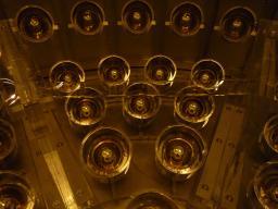 Fond de l'enceinte Buffer, tubes photomultiplicateurs, et réhausses de l'enceinte Gamma Catcher