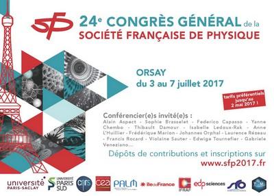 24e Congrès Général de la Société Française de Physique: 3 au 7 juillet 2017 à Orsay