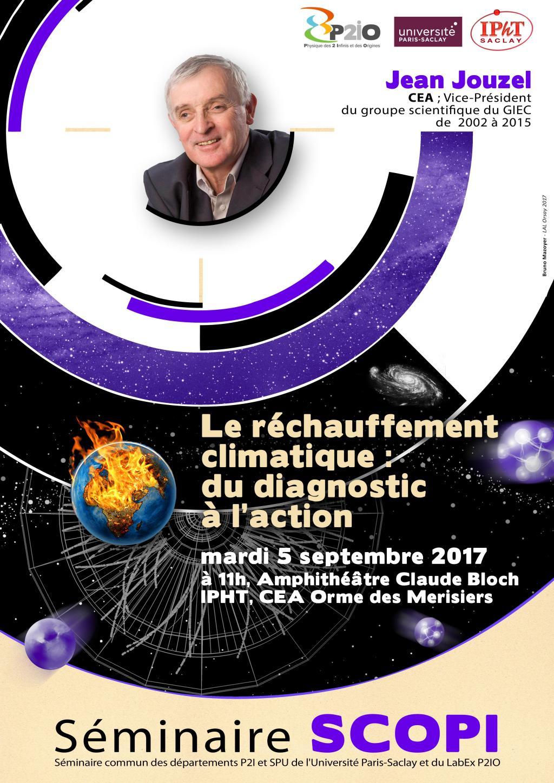 Prochain SCOPI mardi 5 septembre à 11h, amphi C. Bloch, CEA Orme des Merisiers : le réchauffement climatique : du diagnostic à l'action, par Jean Jouzel (CEA, Vice-Président Scientifique du GIEC de 2002 à 2015)