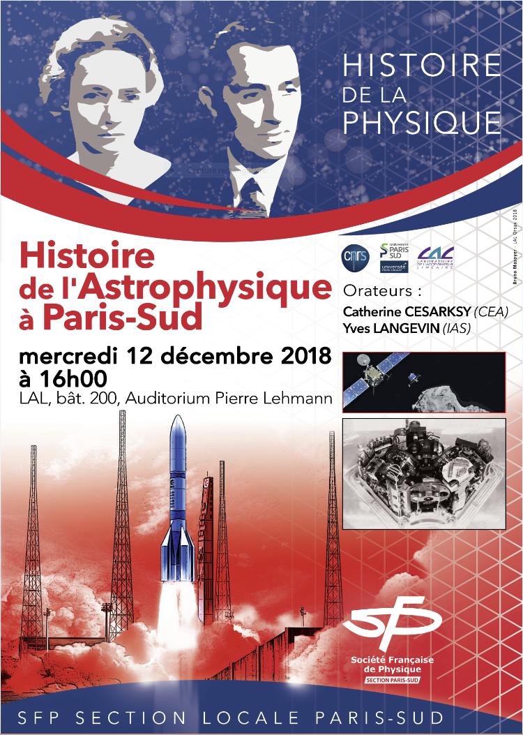 Histoire de l'astrophysique à Paris Sud, mercredi 12 décembre 2018 au LAL