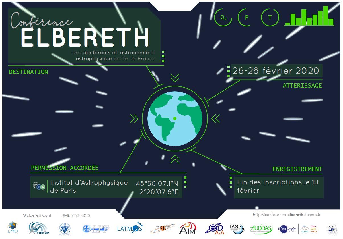 Conférence Elbereth 2020 : du 26 au 28 février 2020 , dans l'amphithéâtre de l'Institut d'Astrophysique de Paris .