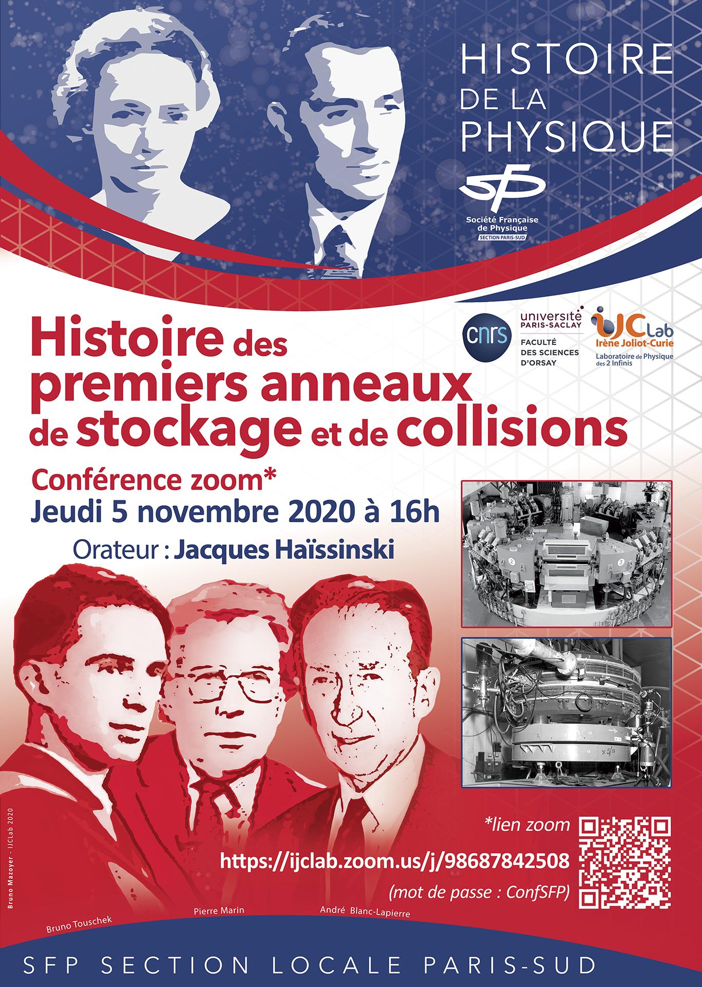 Conférence SFP : Histoire des premiers anneaux de stockage et de collisions le 5 novembre 16h00
