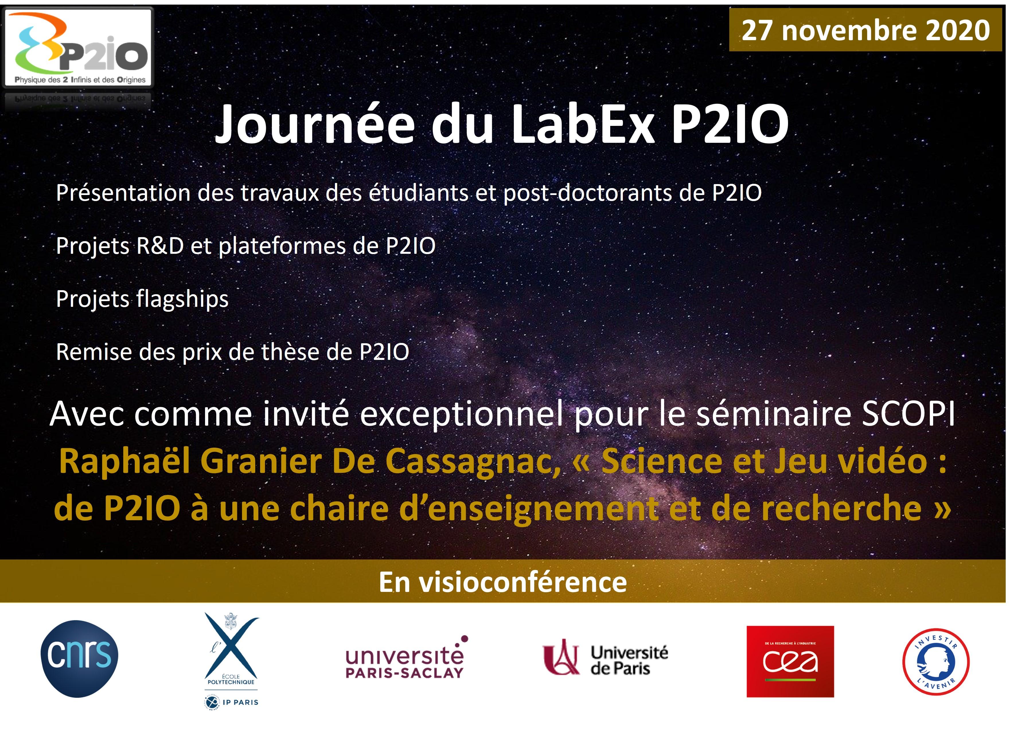 Journée du LabEx P2IO vendredi 27 novembre 2020: inscrivez-vous