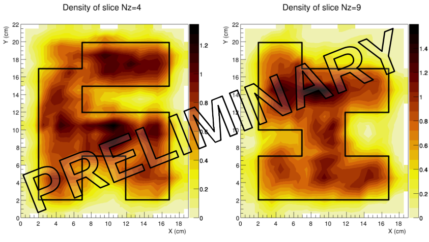 The slicing of the 3D density reconstruction with muon tomography of two lead blocks