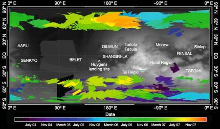 La première carte détaillée de l'apparition des nuages à la surface de Titan entre juillet 2004 et décembre 2007, lors de l'été dans l'hémisphère Sud.