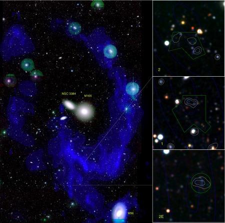 Anneau de gaz et collision de galaxies