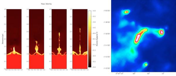 Les  « Piliers  de la création » décodés par  Herschel et la simulation numérique