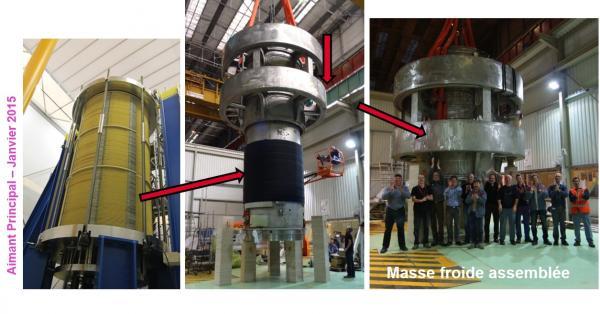 Aimant Iseult: Assemblage de l'enceinte hélium et arrivée de son satellite cryogénique