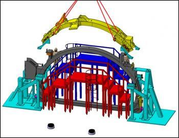 Fin d'installation de la station de pré-assemblage des bobines de JT-60SA à Saclay