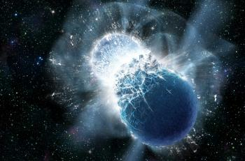 The fusion of two hyperdense stars makes the Universe resonate