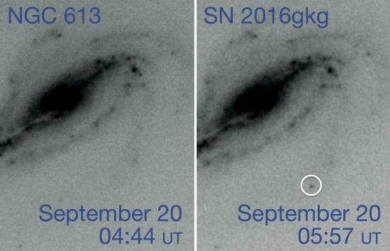 An amateur astronomer captures the early birth of a supernova