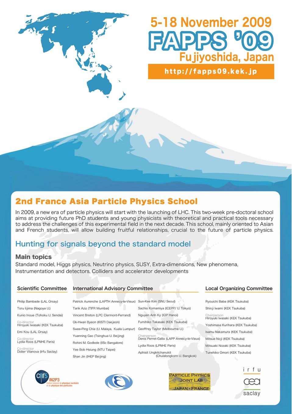 Seconde école franco-asiatique de physique des particules «FAPPS  2009 », 5 - 19 novembre 2009, Fujiyoshida (Japon)