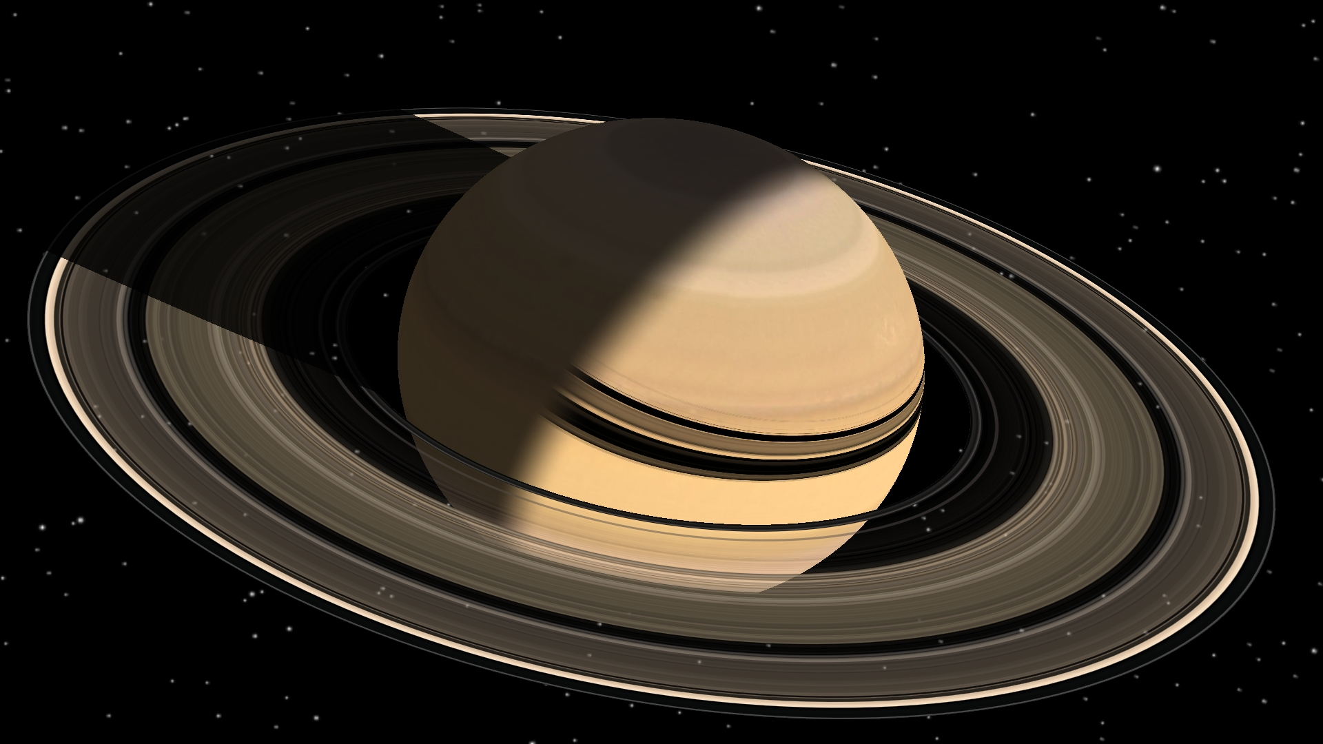 Visualization of Saturn, rings and moons using OpenGL Shaders