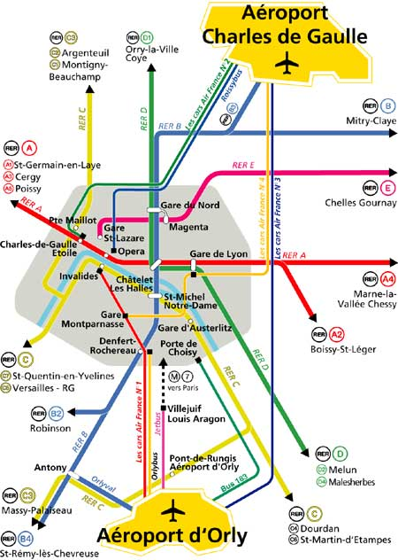 paris airports transportation map
